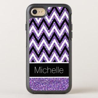 Stylish Purple Glitter Black White Chevrons OtterBox Symmetry iPhone 8/7 Case