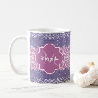 Stylish Purple Knit Pattern With Monogram and Name Coffee Mug