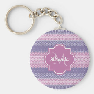 Stylish Purple Knit Pattern With Monogram and Name Keychain