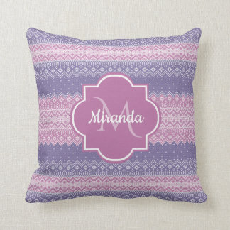 Stylish Purple Knit Pattern With Monogram and Name Throw Pillow