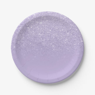 Stylish purple lavender glitter ombre color block paper plate