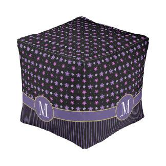 Stylish Purple Pink Black Floral Striped Monogram Pouf