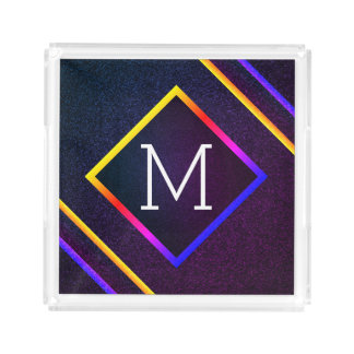 Stylish Purple & Rainbow Outlines With Monogram Acrylic Tray