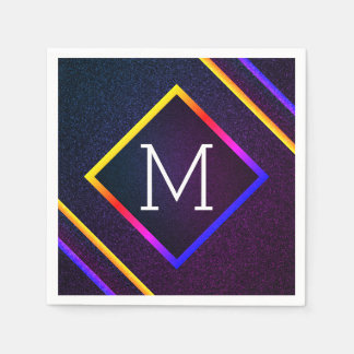 Stylish Purple & Rainbow Outlines With Monogram Disposable Napkins