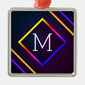 Stylish Purple & Rainbow Outlines With Monogram Metal Ornament