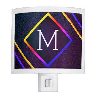 Stylish Purple & Rainbow Outlines With Monogram Night Lights