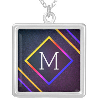 Stylish Purple & Rainbow Outlines With Monogram Silver Plated Necklace
