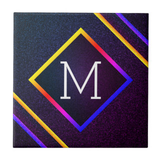 Stylish Purple & Rainbow Outlines With Monogram Tile