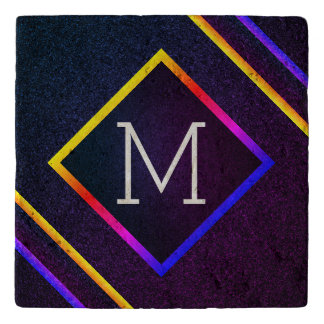 Stylish Purple & Rainbow Outlines With Monogram Trivet