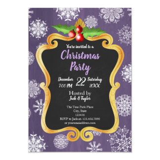 Stylish purple- snowflake and mistletoe invitation