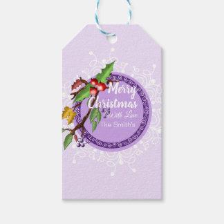stylish purple- snowflake and mistletoe tag