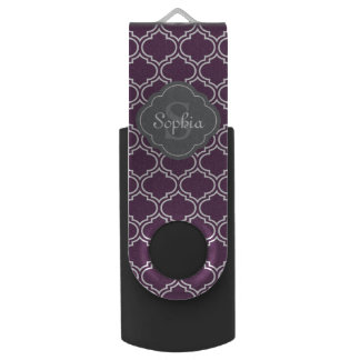 Stylish Purple Trellis Gray Monogram USB Flash Drive