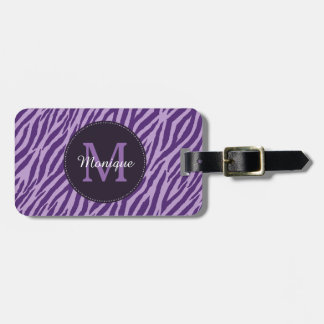 Stylish Purple Zebra Print With Monogram and Name Bag Tag