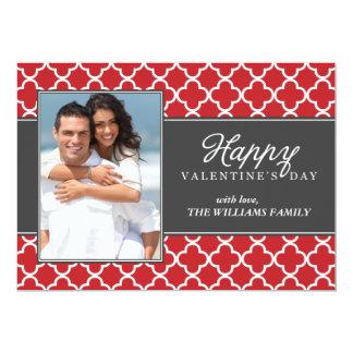 Stylish Quatrefoil Photo Valetines Day Card
