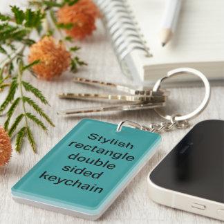 Stylish rectangle double sided keychain