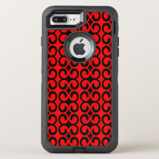Stylish Red and Black Pattern OtterBox Defender iPhone 7 Plus Case