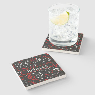Stylish Red and white Musical notes on black Stone Beverage Coaster