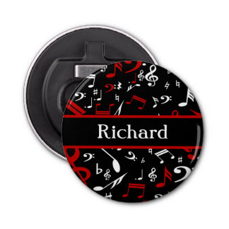 Stylish Red and white Musical notes on black Button Bottle Opener