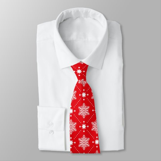 Stylish Red and White Snowflakes Christmas Pattern Tie
