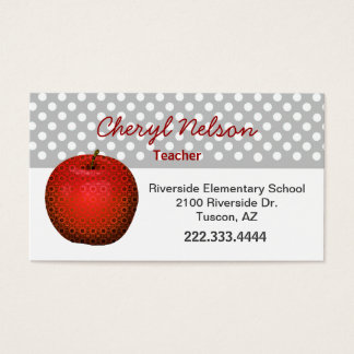 Stylish Red Apple Teacher's Business Card