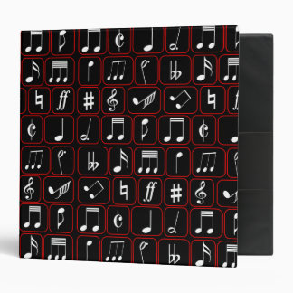 Stylish Red Black and White Geometric Music Notes 3 Ring Binder