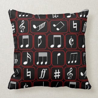 Stylish Red Black and White Geometric Music Notes Throw Pillow