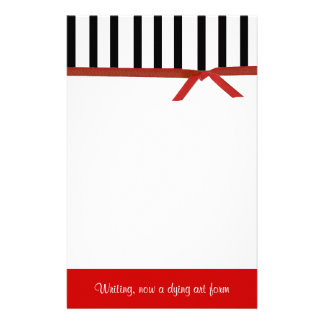 Stylish Red, Black, and White Personal Stationery