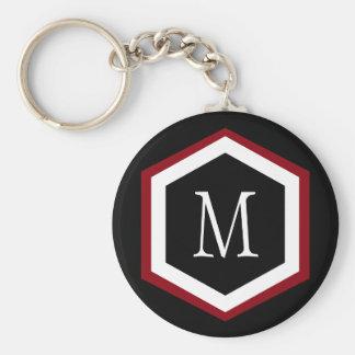 Stylish Red, Black & White Hexagon Circle Monogram Basic Round Button Keychain