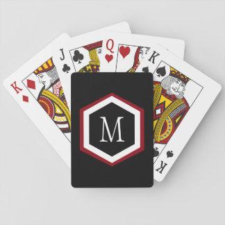 Stylish Red, Black & White Hexagon Circle Monogram Playing Cards