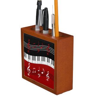 Stylish Red Black White Piano Keys and Notes Desk Organizer