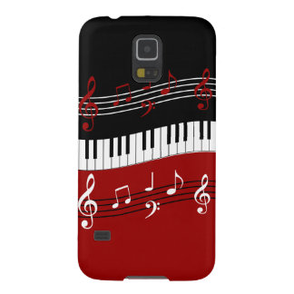 Stylish Red Black White Piano Keys and Notes Galaxy S5 Case