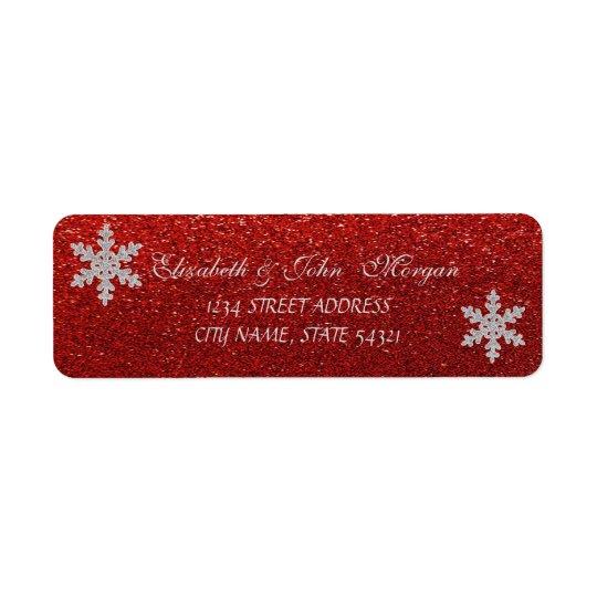 Stylish Red Glittery ,Snowflakes  Address Label
