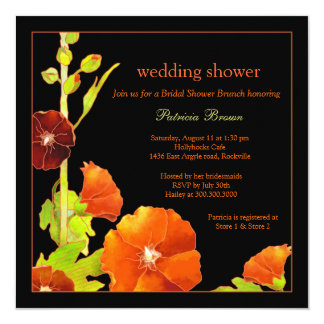 Stylish Red Hollyhocks Black Wedding Shower Card