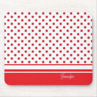 stylish red polka dots mouse pad