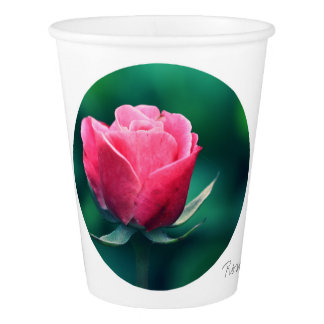 Stylish Red Rose In A Circle Paper Cup