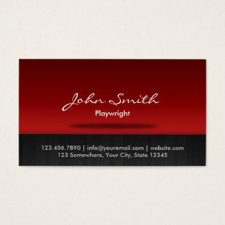 Stylish Red Stage Playwright Business Card