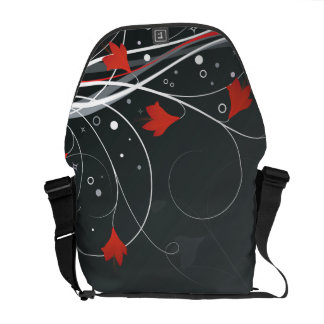 Stylish Red Vector Flowers & Swirls Messenger Bags
