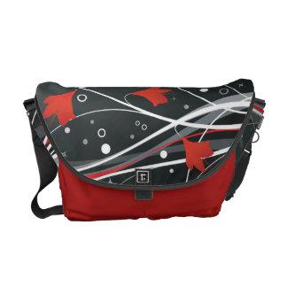 Stylish Red Vector Flowers & Swirls Messenger Bags
