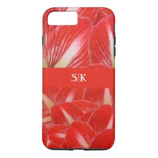 Stylish Red White Amaryllis Floral Monogram iPhone 7 Plus Case