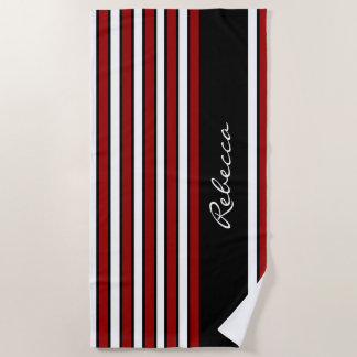 Stylish red white and black stripes beach towel
