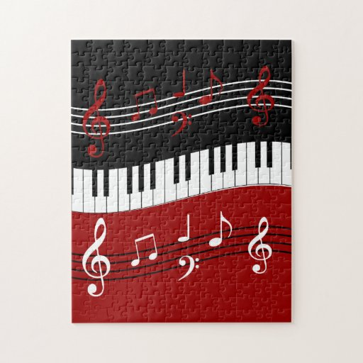 stylish red white black piano keys and notes jigsaw puzzle