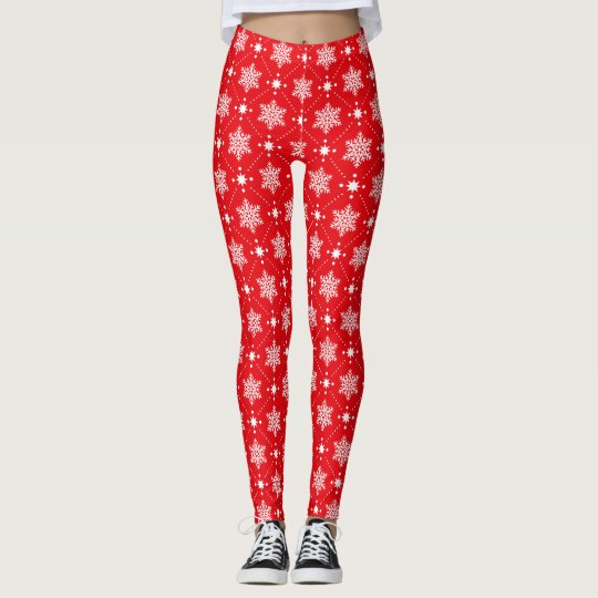 Stylish Red White Snowflakes Christmas Pattern Leggings