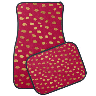 Stylish Red with Gold Confetti Car Mats