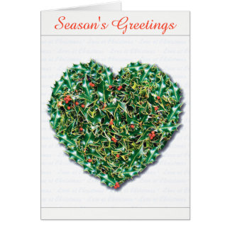 Stylish romantic Holly Heart christmas card