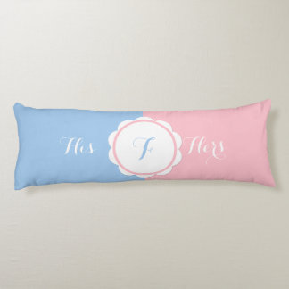 Stylish Romantic Pastel Pink and Blue His & Hers Body Pillow