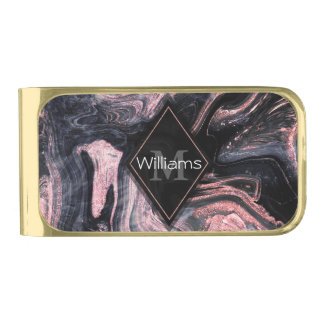 Stylish rose gold abstract marbleized design gold finish money clip