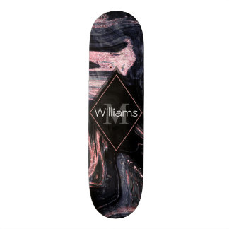 Stylish rose gold abstract marbleized design skateboard deck