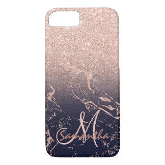 Stylish rose gold ombre navy marble block monogram iPhone 8/7 case