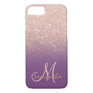 Stylish rose gold ombre purple block monogram iPhone 8/7 case