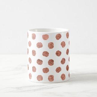 Stylish rose gold polka dots brushstrokes pattern coffee mug